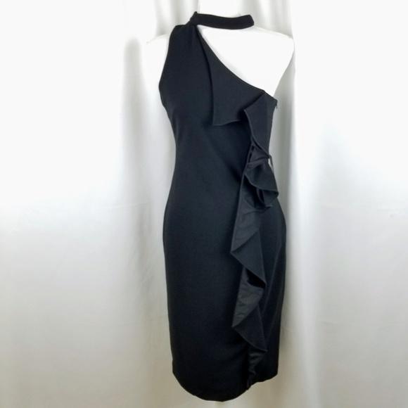 490b4065e2 bebe Dresses | Black Cascade Scuba Crepe Dress Size 8 | Poshmark
